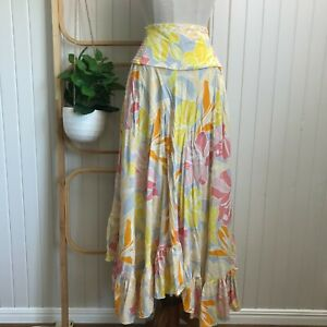 Ebby and I   Size 10   100% Rayon Boho Multi-Coloured Long Asymmetric Skirt