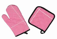 Oven Glove Mitt & Pot Holder Cooking Kitchen 100% Cotton - Pink with Black Trim