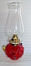 🌟RED MOON STARS AMBERINA KEROSENE FINGER  OIL LAMP 13 1/2 X 5