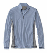 Men Orvis Trout Bum 0553 Wicking Quarter-Zip Shirt Blue Gray Large Pullover NWT
