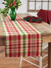 April Cornell Table Runner Yuletide Plaid Collection NWT 100% Cotton Red Green