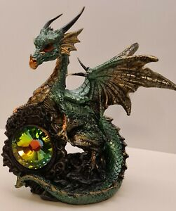 Collectable Green dragon ornament with gem shield