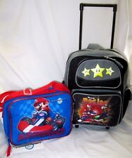 "Super Mario Brothers Mario Kart Wii Rolling 12"" Adjustable Backpack + lunchbox-3"