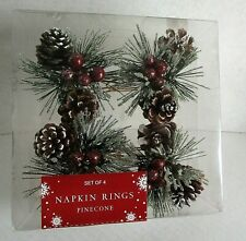 CHRISTMAS NAPKIN RINGS Frosted Pinecone's Berries  SET OF 4