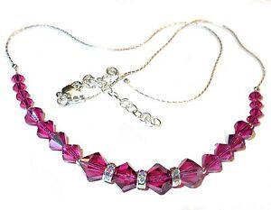 SWAROVSKI CRYSTAL Elements Sterling Silver Deep Pink Necklace FUCHSIA