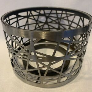 Yankee Candle Shade Topper Silver Medium Large Jar Candle Cross Lacing Metal New