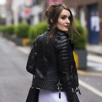 Women Black Slim Fit Biker Diamond Quilted Kay Michael Real Leather Jacket