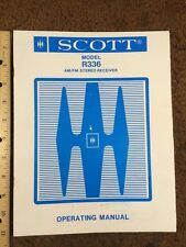 "H H Scott Model R336 AM/FM Stereo Receiver ""Original"" Operating Manual 15 Pages"