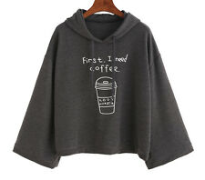 Women long Sleeve Gray Letter Print Hooded Sweatshirt Cotton Pullovers Outwear