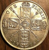 1916 GREAT BRITAIN GEORGE V SILVER FLORIN COIN - Excellent example!