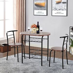 3-Piece Bar Table Set 2 Stools Industrial Style Dining Room W/ Storage Shelf