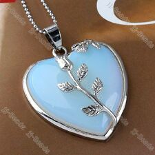 Opalite Gemstone Heart Leaf Wrap Bead Focal Pendant Fit Necklace Jewelry Women