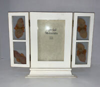 """Photo Frame Dried Pressed Flowers Folding Holds 4x6"""" Picture White Wood"""