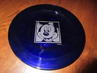 "VTG DISNEY CLEAR COBALT BLUE FROSTED ETCHED GLASS 10 1/4"" D. MICKEY MOUSE PLATE"