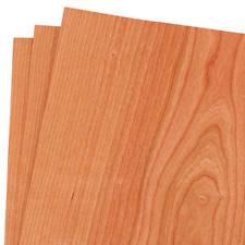 "Cherry Wood Veneer Raw/Unbacked 12"" x 12"" (1' x 1') Pack of 3 Sheets"