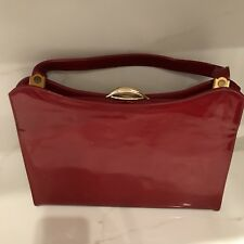 Vintage Purse Cherry Red Patent Leather Top Handle Large Handbag