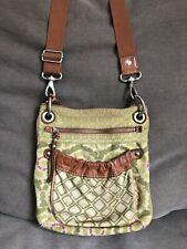 Fossil Women's Handbag Purse Floral/Geometric Canvas Leather Trim Crossbody Bag