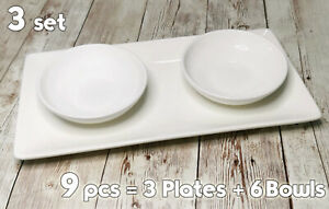 9 pcs set, British Airways Long Plates + BA- William Edwards mini Bowls / Plates