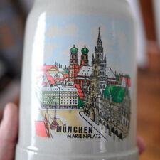Vtg Munich Munchen Germany Marienplatz Stoneware Bier Beer Stein Mug .5 Liter