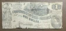 1862 $1 Us Confederate States of America! Old Us Currency! Hard to Find! Rough!