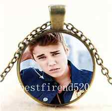 Vintage Justin Bieber Photo Cabochon Glass Bronze Chain Pendant  Necklace