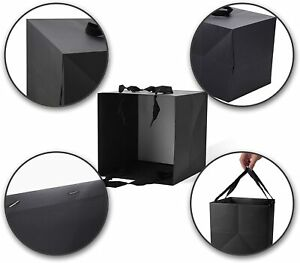 Black Gift Bags with Handles,Black Paper bags,14 Pack 6x6x6inch Square Size Blac