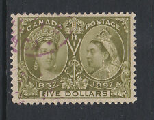CANADA 1897 JUBILEE $5 OLIVE-GREEN SG 140 FINE USED.