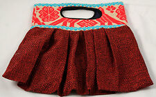 Mexican Purse/Bag/Tote Hand Embroidered Folk Art Textile Collectible Mexico Red
