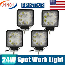 4X 24W SQUARE SPOT FLOOD  LED Work Light Bar Offroad Boat Tractor Driving Lamp