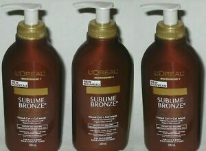 L'oreal Sublime Bronze 1 Day Tinted Gel Sunless Tanning Lotion 200ml 6.7oz 3 Pck