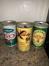 Lot of 3 flattop beer cans Labatt Biere 50 Ale Lucky 96 Carling's Red Cap Ale