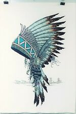 """DAN MITRA INDIAN HEAD DRESS ETCHING SIGNED & #10/2000 HAND TINTEDRARE 36"""" X 26"""""""
