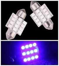 2Pcs Blue 31mm 12V C5W 12 SMD 12 Led Festoon Dome LED Interior Reading Lights 18
