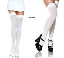 White Opaque Thigh High Long Costume Socks , Leg Avenue - OSFM  Aussie Seller