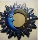 """MOON & STARS MIRROR 11.5"""" Hand Carved & Painted NEW BLue."""