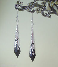 Black Faceted Teardrop Silver Filigree Gothic Drop Earrings in Gift Bag