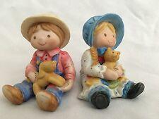 """Ceramic 2 1/2"""" Girl w Kitty Cat & Boy w Puppy Dog Figurine - 2 Piece Lot"""