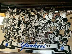 NEW YORK YANKEES 1977 WORLD SERIES CHAMPIONS GROUP CARICATURES SCREEN PRINTED