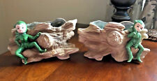 Whimsical Pair Vintage Elf Pixie Gnome Rustic Planters Wall Pockets Inarco (L)