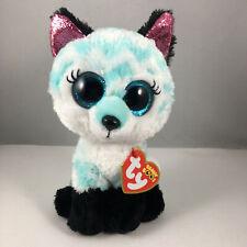 2021 TY Beanie Boos ATLAS Aqua Chevron Fox Stuffed Animal Plush (6 Inch) MWMTs