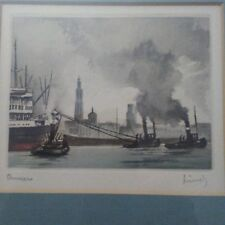 Signed Water Color Painting — Harbor View with Tugs Leading a Ship Out