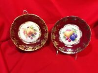 Vintage Pair of High-quality China Plates Marked 'Germany U.S. Zone' Gold-trim