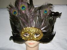 Beautiful Peacock Feather Party Mask, Very Attractive Golden Colour !