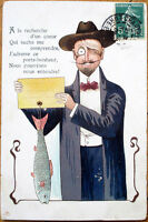 1908 First of April/Premier Avril Postcard: Color Litho Man Holding Fish w/Tag