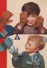 Vintage Toddlers/Childs Fair Isle Gloves Knitting Pattern. 2-3-4 yrs.