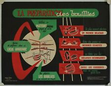 Affiche PREPARATION BOUILLIES VEGETAUX 1958 illustr. REURE