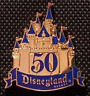 Disney Pin 32860 DLR Golden 50th Anniversary VIP Press Sleeping Beauty Castle