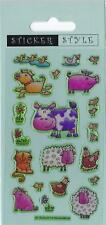 Farm Animal Craft Stickers Sparkly & Puffy Sheep, Cow, Dog, Duck