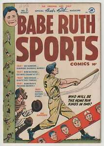 M1256: Babe Ruth Sports Comics #3, Vol 1, F VF Condition