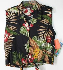 NWT SPA Women's XL Hawaiian Sleeveless Vacation Beach Beaded Button Front Top